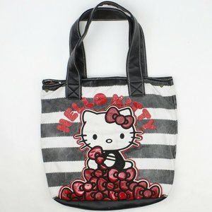 Loungefly HELLO KITTY Striped Red Bows Tote Bag